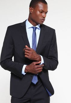 Bugatti SLIM FIT - Suit - schwarz for with free delivery at Zalando Bugatti, Trouser Suits, Trousers, Foto Blog, Men's Wardrobe, Suit And Tie, Fabric Material, Slim Fit, Mens Suits