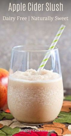 Creamy apple cider slush is perfectly refreshing for the fall! This recipe is dairy free and naturally sweetened with maple syrup. You'll love the cinnamon spice flavor!