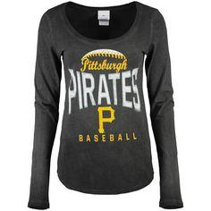 Pittsburgh Pirates 5th & Ocean by New Era Women's V-Neck Long Sleeve T-Shirt - Black