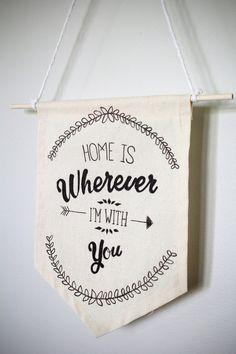 Fabric Wall Hanging, Banner Flag, Home Decor, Word Art Banner, Pennant Flag, Wall Art, Canvas Banner, Fabric Banner, Handmade, Wall Hanging