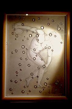 Discobole tempera grasse sur bois et polymère sur altuglass sous cadre Dim. 80 X 60 By Thierry Portal