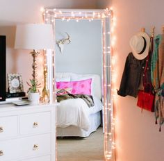 So pretty. Great contrast. Bedroom. Room. Teen. Girl. Romantic. Mirror