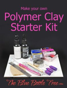 don't need to buy expensive tools to get started with polymer clay. Here's how to make your own polymer clay starter kit.You don't need to buy expensive tools to get started with polymer clay. Here's how to make your own polymer clay starter kit. Polymer Clay Kunst, Polymer Clay Tools, Polymer Clay Miniatures, Fimo Clay, Polymer Clay Charms, Polymer Clay Projects, Polymer Clay Creations, Clay Crafts, Polymer Clay Jewelry