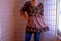 50 Med/Large UpCycled Clothing Tunic Jeans Topper by ArtzWear