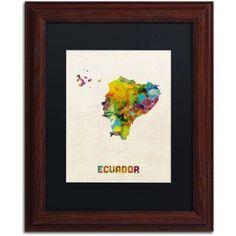 Trademark Fine Art Ecuador Watercolor Map Canvas Art by Michael Tompsett Black Matte, Wood Frame, Size: 16 x 20, Multicolor