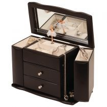 Musical Dark Java Finish Jewellery Box - with Ballerina from Berrys Gifts