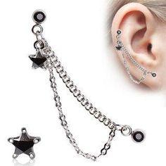 16g Cartilage Barbells w/ Chain & Black CZ Star Dangle