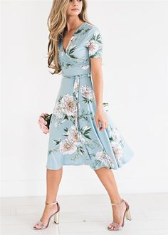 Women's Floral Dress E-Scenery Summer Short Sleeve V-Neck Boho Floral Mini Dresses Sundress (Light Blue Small) church wraparound lds Source by dresses sundresses Cute Floral Dresses, Floral Sundress, Modest Dresses, Casual Dresses, Fashion Dresses, Bridesmaid Dresses, Short Sundress, Floral Spring Dresses, Dress Prom