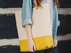 Yellow Canvas Tote / Color Block Tote / by DavieAndChiyo607, $70.00