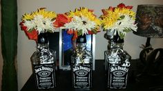 3 more jd bottles centerpieces for reception. Made by myself