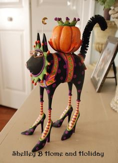 Patience Brewster Black Cat Candle Holder   shelley b home and holiday