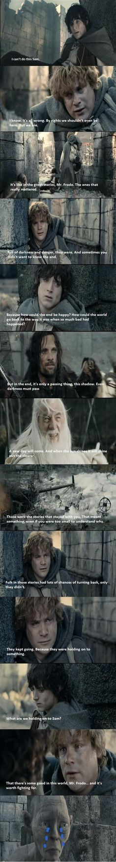 """""""It's like in the great stories, Mr. Frodo. The ones that really matter."""""""
