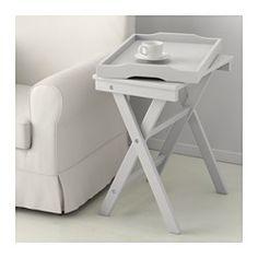 IKEA - MARYD, Table/plateau, vert, , La table se replie pour pouvoir être mise de côté quand elle ne sert pas.Ce plateau amovible peut s'utiliser pour le service.Plateau à bord larges et surélevés pour éviter que le contenu ne se renverse et pour faciler la prise en main pour le porter.