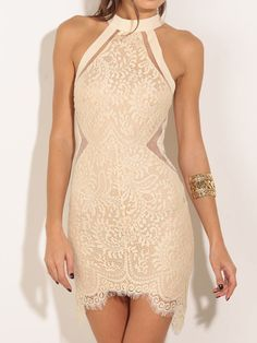 Halter Lace Bodycon White Dress Mobile Site