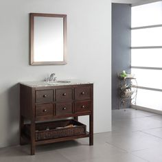 $759.99 Bring a touch of elegance to your bathroom with the Simpli Home Burnaby 36-in. Single Bathroom Vanity. Contemporary style and function match effortlessly in this vanity. Three drawers and a wicker basket offer plenty of storage for bathroom necessities, so there's the function. Style-wise, this vanity features a beautiful dark brown finish and a unique design, which pairs magnificiently with a flecked granite top and undermounted white sink.