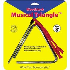 Woodstock Percussion Musical Triangle by Woodstock Percussion. $9.14. Made of high quality polished steel. Woodstock Musical Triangle is fun and easy to play for all ages. Triangle is 5.25-Inch wide, metal beater included. To play, hold the Triangle by the red loop, strike any side of the triangle for a single beat or sweep the striker rapidly around the inside edges. A must-have for any rhythm section. From the Manufacturer                A must-have for any rhythm sec...