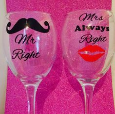 Wine glass funny quotes set of 2 mr right mrs always right gift novinophopia novelty wedding Christmas valentines gifts handmade by LoveartsGifts on Etsy