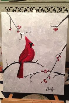 Very pretty cardinal painting with red berry branches and snow fall.