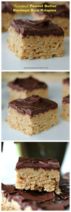 'Awesome' Peanut Butter Buckeye Rice Krispies - Thick, rich, buttery, krispy and creamy Peanut Butter Buckey Rice Krispies, with a huge wallop of a chocolate and peanut butter infusion! Awesome!! via @https://www.pinterest.com/BaknChocolaTess/