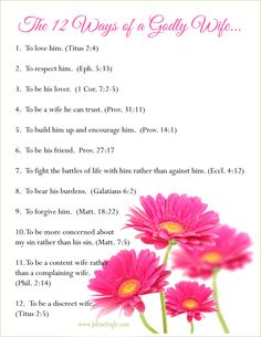 The 12 Ways of a Godly Wife by Jolene Engle- FREE printable!