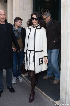 Amal's William Vintage suit from 1965 was a step in the mod direction for an outing in Paris.