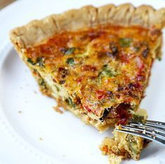 This is an easy, light and savory recipe for vegetable ricotta pie that only takes 15 minutes to prep! It's the ultimate veggie quiche for your next brunch! Pie Recipes, Vegetable Recipes, Vegetarian Recipes, Cooking Recipes, Ricotta Pie, Cooking Light, Vegetable Dishes, Breakfast Recipes, Brunch