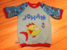 """Tshirt Größe 74/80, farbenmix-Schnitt """"xater"""" ... Die Fisch-Applikation ist dem tollen Ärmel-Stoff von Janeas World entlehnt"""