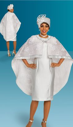 Silky twill dress with lace cape. Jeweled trim and clasp. First Lady Church Suits, Church Suits And Hats, Church Attire, Women Church Suits, Office Outfits Women, Woman Outfits, Dresses For Teens, Church Dresses, Dress Attire