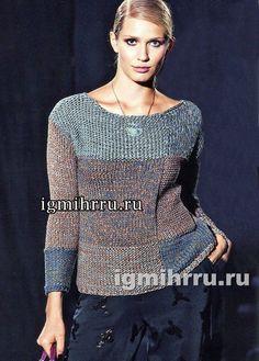Минималистичный пуловер из геометрических мотивов. Вязание спицами