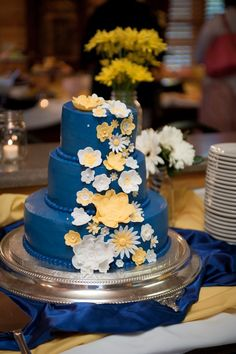 Yellow And Blue Flowered Cake