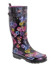 This Black & Fuchsia Floral Rain Boot is perfect! #zulilyfinds