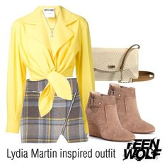 """""""Lydia Martin inspired outfit/TW"""" by tvdsarahmichele ❤ liked on Polyvore featuring UGG Australia, Sole Society, River Island and Moschino"""