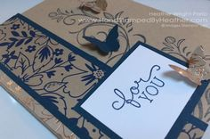 Hand Stamped By Heather Wright-Porto, Falling Flowers, Bitty Butterfly by Stampin' Up!