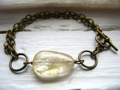 Citrine Bracelet Yellow Citrine Stone Bracelet by LuminousCreation
