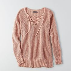 AE Lace-Up Waffle Sweater (415 SEK) ❤ liked on Polyvore featuring tops, sweaters, pink, v neck sweater, pink sweater, waffle knit top, lace up sweater and v-neck tops