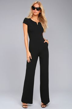 Lulus Exclusive! Anything you dream, can be achieved with the Goal-Getter Black Short Sleeve Jumpsuit! Sleek stretch knit shapes this chic jumpsuit with a notched neckline (with hidden V-bar), cap sleeves, and a princess-seamed bodice. Wide legs have a high-waisted fit and diagonal pockets. Hidden back zipper.