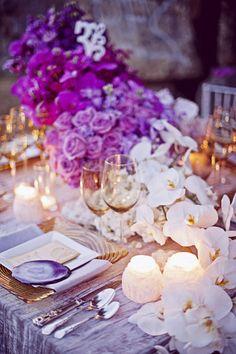 purple flowers + white orchids