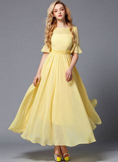 Elegant yellow chiffon maxi dress (yellow evening gown) fabricated from sheer chiffon, featuring lace details above bust line, ruffles on the waist, lantern sleeves, and long flowy skirt with wide hem. Yellow Maxi Dress Outfit, Dress Outfits, Fashion Dresses, Chiffon Maxi Dress, Lace Dress, Sheer Chiffon, Flowy Skirt, Flowy Gown, Maxi Gowns