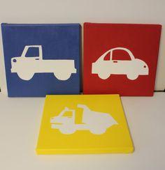 transportation nursery paintings wall art, truck car dump truck paintings, transportation silhouette, transportation art/decor