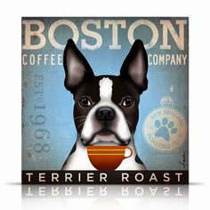 Boston Terrier Coffee Company original graphic illustration on canvas 12 x 12 by stephen fowler. $80.00, via Etsy.