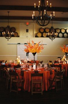 Great fall wedding decor.  Photography by jenfariello.com, Floral Design by patsfloraldesigns.com