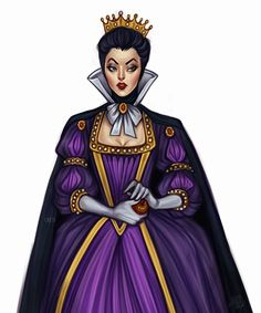 "The Evil Queen🍎 With this piece I am officially reopening my ""Disney Baroque"" series. You won't see the villains from Pocahontas or Frozen… Disney Fan Art, Disney Style, Disney Love, Disney Artwork, Disney Evil Queen, Disney Magic, Disney And Dreamworks, Disney Pixar, Walt Disney"
