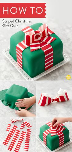 Give the gift of a Christmas dessert with this Striped Christmas Gift Cake! - Give the gift of a Christmas dessert with this Striped Christmas Gift Cake! Christmas Gift Cake, Christmas Cake Designs, Christmas Cake Decorations, Christmas Cupcakes, Holiday Cakes, Christmas Desserts, Holiday Treats, Christmas Treats, Christmas Baking
