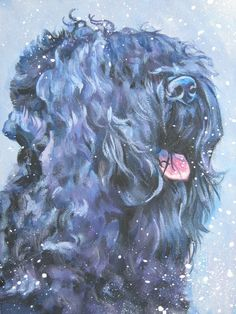 Black Russian Terrier art print CANVAS print of LA by TheDogLover