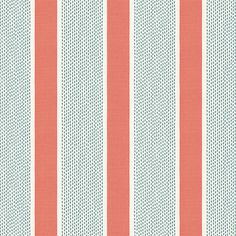Coral pink and green dotted awning stripe that's classic yet modern, with a hint of preppy. This aqua & coral pink stripe fabric is available by the yard and on most Loom custom furnishings. Aqua Wallpaper, Fabric Wallpaper, Coral Blue, Pink And Green, Striped Room, Coral Fabric, Coral Design, Blue Bedding, Drapery Fabric
