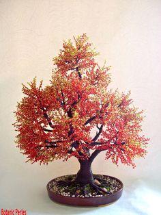 Grand arbre rouge en perles de rocaille - couleurs d'automne : Accessoires de maison par botanic-perles