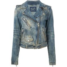 DIESEL denim biker jacket ($480) ❤ liked on Polyvore featuring outerwear, jackets, jeans, 2014, 2015, moto jacket, denim jacket, distressed motorcycle jacket, cropped motorcycle jacket y blue moto jacket