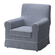 EKTORP JENNYLUND Chair cover - Norraby blue/check pattern - IKEA  $79  love this!