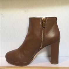 "Michael Kors Sammy bootie Dark caramel Leather bootie 3 1/2"" heel MICHAEL Michael Kors Shoes Ankle Boots & Booties"