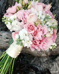 biedermeier roze-gemengde-roze-bloemen